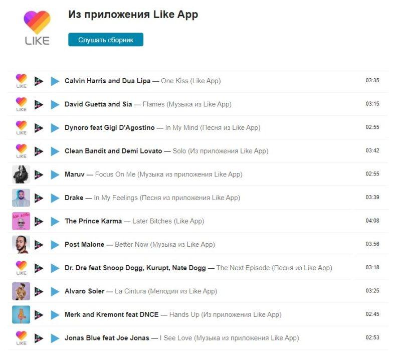 популярные песни из likee